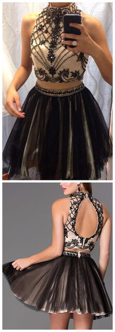 Sexy Halter Beaded Crystal Short Homecoming Dresses Black Open Back 8th Grade Graduation Dresses Cocktail Party Gowns Sexy