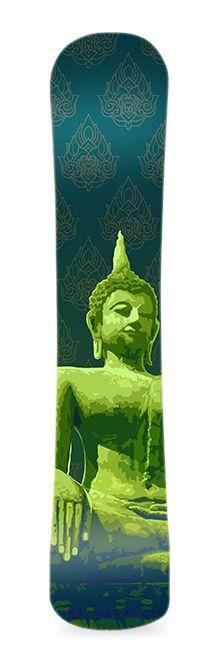Buda. Diseño de vinilo adhesivo para snowboard. #greenmonkeybanana