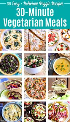 Looking for Quick Vegetarian Recipes? You'll love these Vegetarian Meals! Make one of these Easy Meatless Meals (Pasta, Soups, Salads, more) tonight. Vegetarian Sandwich Recipes, Veggie Recipes Healthy, Easy Vegetarian Dinner, Veggie Dinner, Vegan Recipes, Vegetarian Mexican, Veggie Pizza, Vegetarian Soup, Vegan Meals