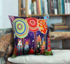 Night Village PILLOW COVER Velvet FOLK ART ABSTRACT PRIMITIVE Karla Gerard in Home & Garden | eBay