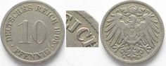 1905 Deutschland - Kaiserreich GERMANY 10 Pfennig 1905 G - Error REJCH instead of REICH - RARE! # 92478 VF ✓ Coins and Coin Collecting ✓ MA-Shops warranty with certified dealers ✓ Coins, medals and banknotes from ancient to modern. Error, Coin Prices, Coin Collecting, Coins, Germany, Personalized Items, Deutsch