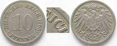 1905 Deutschland - Kaiserreich GERMANY 10 Pfennig 1905 G - Error REJCH instead of REICH - RARE!!! # 92478 VF