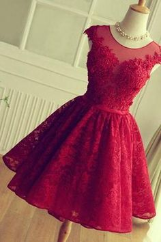 short prom dress,red homecoming dress ,lace homecoming dress ,lovely homecoming dress ,junior prom dress ,cheap prom dress , Cocktail Dresses, Graduation Dress,Homecoming Dress,17358