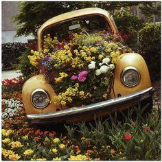 Fusca, Jardim, Flores, Decoração Jardim