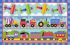 """LA Rug Trains, Planes & Trucks Rug 19""""x29"""" LA Rug http://www.amazon.com/dp/B001652VY6/ref=cm_sw_r_pi_dp_IuGNtb12VTN0D9FH"""