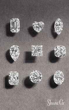 Learn about a diamond's -- clarity, carat, cut and color. Make an informed decision at the Shane Co. Types Of Diamond Cuts, Types Of Diamonds, Heart Shaped Diamond Ring, Pearl And Diamond Earrings, Jewelry Store Design, Diamond Sizes, Diamond Are A Girls Best Friend, Moissanite, Gemstones