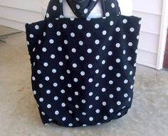 Black and White Polka Dot Tote Lined in Black by lovelylovedesigns, $16.00