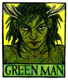 The Green Man is a God or spirit of vegetation and plant growth, especially that of springtime. He is associated with the holiday of Beltaine, on May 1st, and He is the counterpart to the May Queen. He is frequently found carved into medieval churches as a sort of gargoyle, His face made from foliage, or with leaves sprouting from His eyes or mouth.
