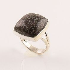 Stingray Coral Sterling Silver Ring