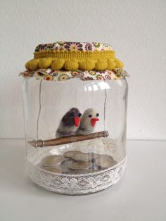Two love birds felted in a yarn  . Nice way to give money.