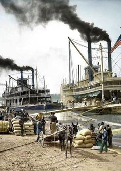 ˚Steamboats in the Mississippi River 1907