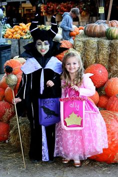 My Maleficient and Sleeping Beauty costume bags for Paige and Ally. Halloween 2010