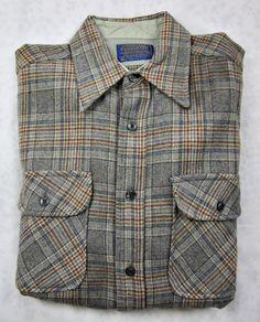 Vintage Pendleton Country Traditionals Mens Plaid LS Shirt 100% VIrgin Wool #Pendleton #ButtonFront