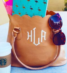 This Monogram Scalloped Tote Purse is adorbs!