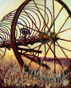 """""""Hay Rake Cathedral"""" by Kellam Brown, Plano, TX // Abandoned farm machinery seems to naturally tell stories drawn from the history of the land and the character of the people who worked it.  The dry Texas prairie grassland land baked under the unrelenting sun cause the light to shimmer through the tines and spokes of the rusting rake... // Imagekind.com -- Buy stunning, museum-quality fine art prints, framed prints, and canvas prints directly from independent working artists and…"""