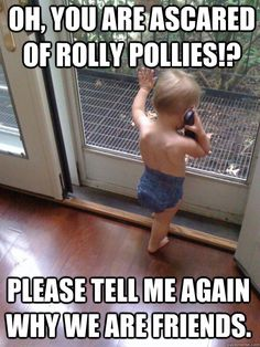 Oh, you are ascared of Rolly Pollies!? Please tell me again why we are friends.  Tough Love Baby