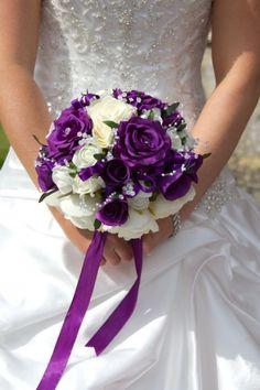 Purple and white bridal bouquet Bridesmaids with deep purple bouquets Purple Wedding Decorations, Purple Wedding Bouquets, Bride Bouquets, Flower Bouquet Wedding, Wedding Centerpieces, Flower Bouquets, Wedding Ideas Purple, Yellow Wedding, Wedding Dresses