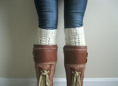 Knitted Boot Cuffs  Cream Knit Boot Cuffs  Leg by hilaryfrazier #bootcuff #bootsocks