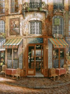 Le Petit Bistro by John O'brien, Paris Maurice Utrillo, Pintura Exterior, Murals Your Way, Cross Stitch Supplies, Shop Fronts, Colouring Pages, Coloring Books, Oeuvre D'art, Belle Photo