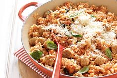 Another quick and easy to make dinner idea -Tomato and sausage risotto bake
