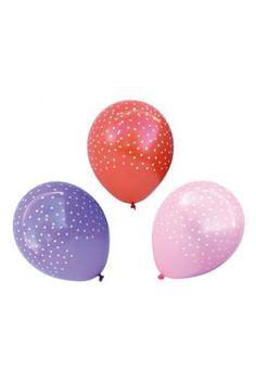 Ballonger - rosa/röd/lila prickiga