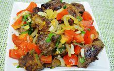 Говяжья печень с овощами зеленью и зеленым перчиком Beef, Food, Meat, Essen, Meals, Yemek, Eten, Steak