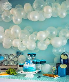 Nautical Bubbles. Blues, Green, And Gray. Balloon Garland. Facebook.com ·  Nautical Baby ShowersNautical Baby Shower DecorationsWhale ...