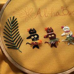 . . #수놓는발바닥 #프랑스자수 #자수타그램 #일러스트 #핸드메이드 #캣스타그램 #냥스타그램 #고양이 #취미 #일상 #embroidery #hoopart #handmade #needlework #stitch #catstagram #cat #daily Cute Embroidery, Embroidery Fashion, Embroidery Thread, Cross Stitch Embroidery, Embroidery Patterns, Funny Cross Stitch Patterns, Clothes Crafts, Sewing Crafts, Needlework
