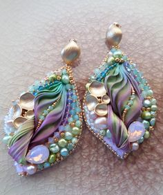 ~~Silk Leaf Earrings | design by Serena Di Mercione --- bead embroidery  shibori silk ribbon~~