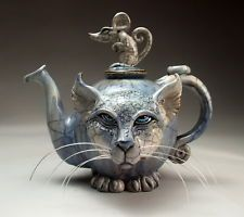 Blue Cat and Mouse Teapot face jug folk art raku pottery by Mitchell Grafton Kintsugi, Crazy Cat Lady, Crazy Cats, Teapots And Cups, Paperclay, Arte Popular, Blue Cats, My Tea, Cat Art
