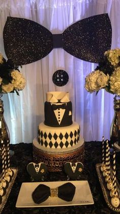 Birthday Party Ideas - Tuxedo - Ideas of Tuxedo - Cumpleaños de abuelo Birthday 60, 70th Birthday Parties, Birthday Photos, Birthday Celebration, Bowtie Birthday Party, Birthday Ideas, 50th Birthday Party Decorations, Birthday Backdrop, 50th Party