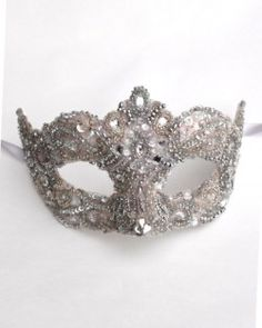 Crystal Pink & Silver Venetian Masquerade mask as seen in Hello Magazine