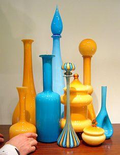 vintage glass, blue & yellow
