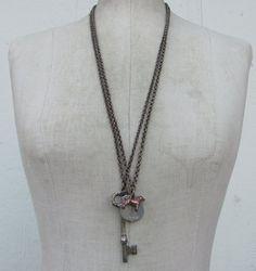 vintage dog tag 3d charm Necklace 2 pc. BOGO Wholesale lot  brass chain  found object SteamPunk cracker jack metal jewelry skeleton key w2