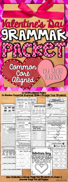 This Valentine's Day-themed packet will make grammar fun for your students! These fun activities will help students enjoy reviewing essential language skills. $