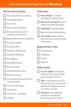 Lista essencial de o que fazer em Barcelona! Saiba onde ir, onde comer e onde comprar! Um check list das atrações para você imprimir ou salvar no celular