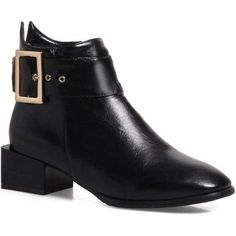 Black 34 Women Shoes Zip Square Toe Low Heel Ankle Boots ($36) ❤ liked on Polyvore featuring shoes, boots, ankle booties, short boots, short heel boots, square-toe boots, ankle boots and black ankle bootie