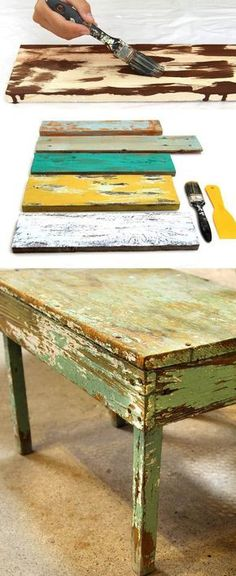 Ultimate guide on how to distress wood and furniture. Video tutorials of 7 easy painting techniques that give great results of aged look using simple tools. A Piece of Rainbow paintings diy How to Distress Wood & Furniture EASY Techniques & Videos! Distressed Wood Furniture, Distressed Painting, Weathered Wood, Repurposed Furniture, Painting On Wood, Diy Painting, Distressing Wood, Antique Furniture, Painting Classes