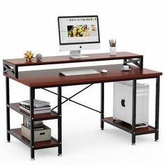 Tribesigns Computer Desk with Storage Shelves, 55 inch Large Rustic Office Desk Computer Table Studying Writing Desk Workstation with Hutch for Home Office (Retro Brown) Computer Desk With Hutch, Office Computer Desk, Pc Desk, Desk Hutch, Table Desk, Bedroom Computer Desk, Industrial Computer Desk, Computer Desk Organization, Gaming Desk