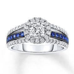 Sapphire Engagement Ring 1 ct tw Diamonds 14K White Gold Thin blue line ring