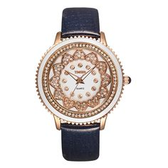 Fashion Bright Diamond Dial Genuine Leather Strap Women Quartz Watch ** Details can be found by clicking on the image. (This is an affiliate link) Modern Watches, Watches For Men, Ladies Watches, Women's Watches, Wrist Watches, Women's Dress Watches, Pink Leather, Fashion Watches, Michael Kors Watch