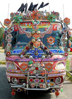 Front of the bus. Pakistan - Bus by Arnim Schulz, via Flickr