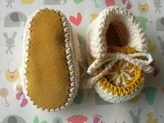 Baby booties. Gold and Cream. 36 months. Hand by CrochetKat1952, £6.99 https://www.etsy.com/uk/listing/202730422/baby-booties-gold-and-cream-3-6-months?ref=shop_home_active_1