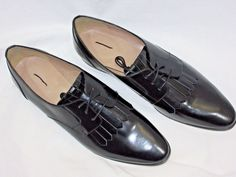 J Crew Leather Oxfords with Fringe in Black Loafer Flats Style F4979 Size 11 NEW #JCrew #LoafersMoccasins