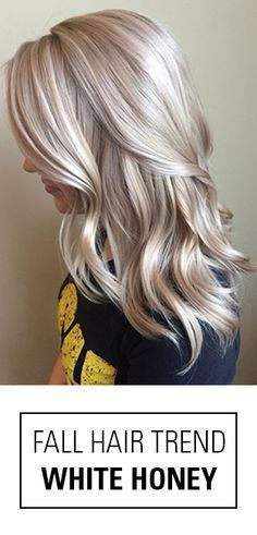 This is it! The perfect fall hair color idea for blondes! Not quite platinum, not quite golden. White Honey Blonde is a beauty with it's bright, beige blonde hues!