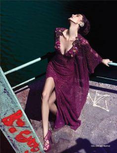 Wonderful purple lace and sequins purple Abed Mahfouz dress