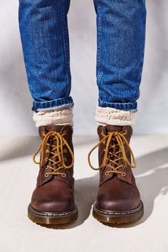 Wear them like you would riding boots: chunky boot socks and skinny jeans, rolled up to show off socks!  Vintage Doc Martens, Doc Martens, Doc Marten style boots