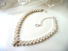 Little girls pearl necklace handmade with Swarovski pearls and Japanese seed beads.