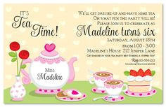 Cute tea party invites