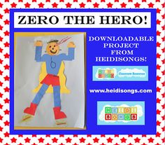Heidisongs Resource: Zero the Hero project to reinforce tens and ones place value concept in math. Kindergarten Math Activities, Preschool Age, Teaching Math, Reading Skills, Guided Reading, Hero Crafts, Sing Along Songs, Zero The Hero, Tens And Ones